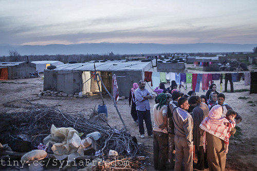 Syrian refugees have taken shelter at a makeshift tent camp set up for Syrian seasonal laborers in Al Qaa, Lebanon. | by FreedomHouse