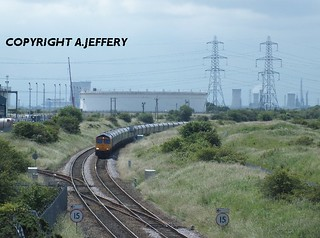 Seal Sands provide the backdrop for 66730 'Whitemoor' as it passes Seaton Snook Jn with Cottam - Tyne Dock MTs - 13.07.12 | by 51C Monkey Madness
