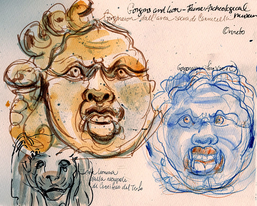 Tuscan sketchbook: Gorgons of Orvieto | by Laura Frankstone