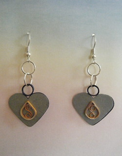 Heart earrings on silver | by Philippa Reid