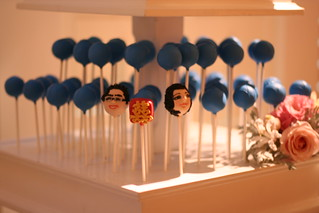 Double Happiness and Bride and Groom Character Cake Pops Decorate the Stand | by Sweet Lauren Cakes