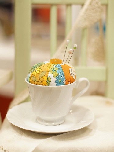 orange teacup pincushion | by grrl+dog