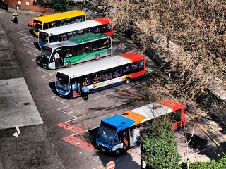 Colourful Buses Seen From Above, Stockport, Cheshire. UK | by Man of Yorkshire