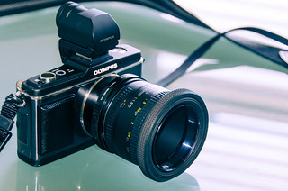 Olympus E-P2 with EVF, Fotodiox Nikon(G) mount for Micro 4/3rds, and Nikkor 50mm 1:1.8D mounted | by C.K. Sample III