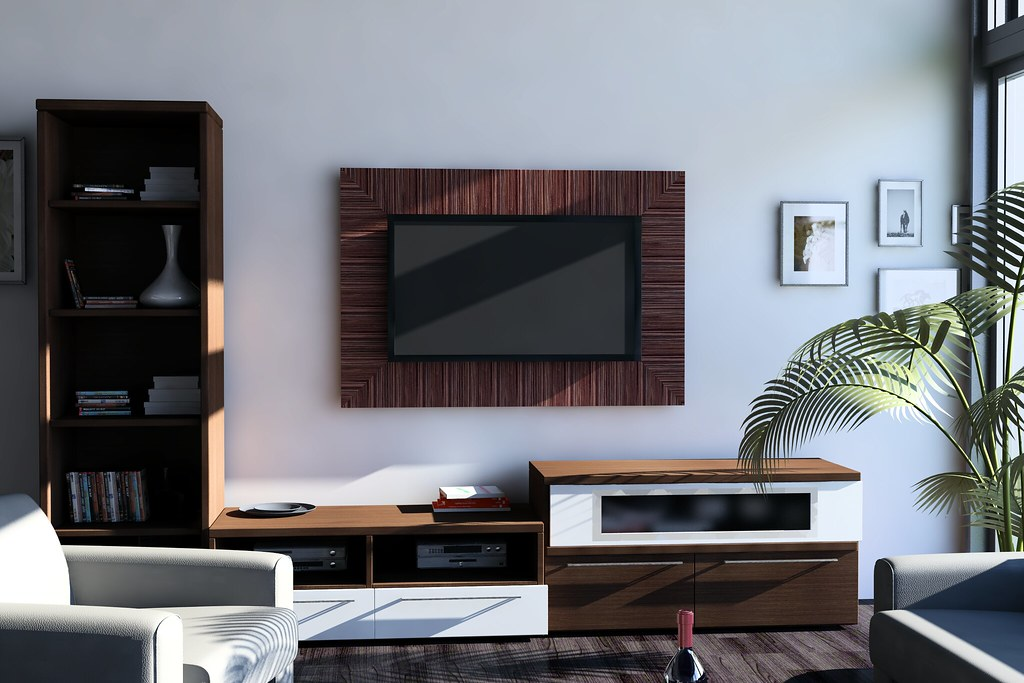 living room with wooden tv panel luis murra flickr