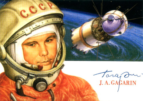 Yuri Gagarin Soviet Space Hero | This is a post card which ...
