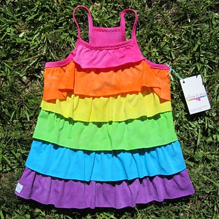 Rainbow Ruffle Lore top 7-8 front | by willow & moo