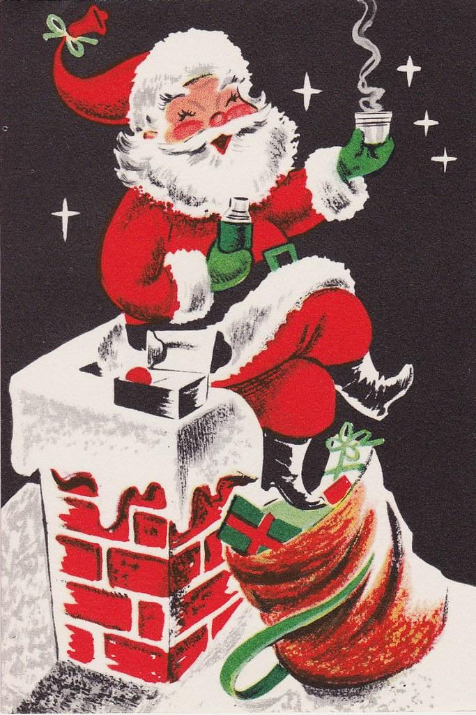 Vintage Christmas Card - Santa takes a coffee break...   Flickr
