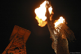 """Crude Awakening"" fire sculpture by Dan Das Mann and Karen Cusolito at the 2007 Burning Man (The Green Man), Black Rock City, Nevada 