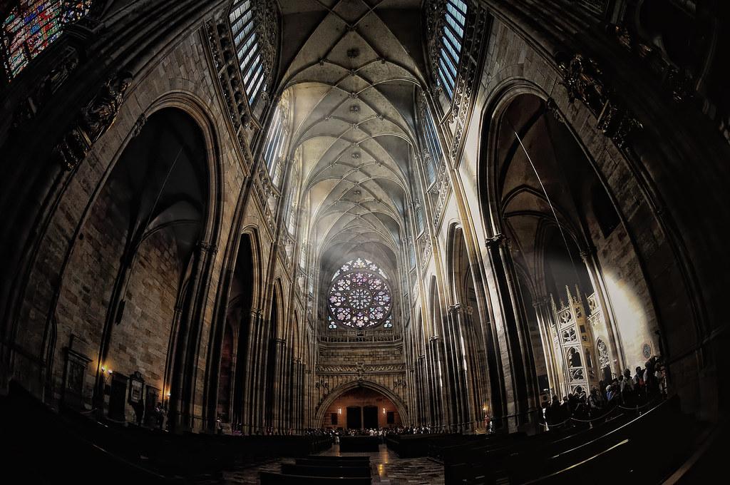 Interior of St. Vitus Cathedral. Prague (Fisheye Vision)