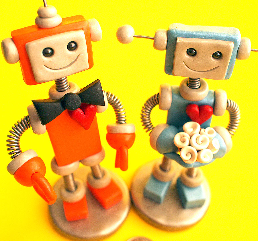 Robot Wedding Cake Topper in Orange and Blue | Separate groo… | Flickr