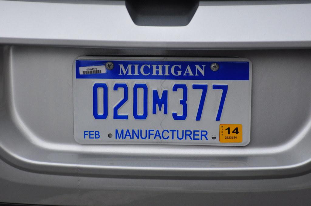 2014 Michigan Manufacturer License Plate   2012 Chevrolet Vo ...