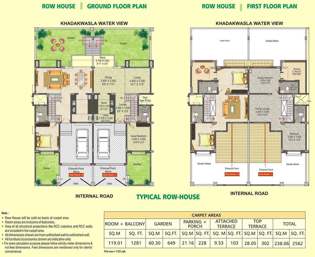Row House Floor Plan DSK Meghmalhar Phase 2 1 BHK 2 B – Raw House Floor Plan