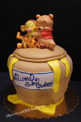 Honey Pot Baby Shower Cake Cute Plastic Pooh And Tiger