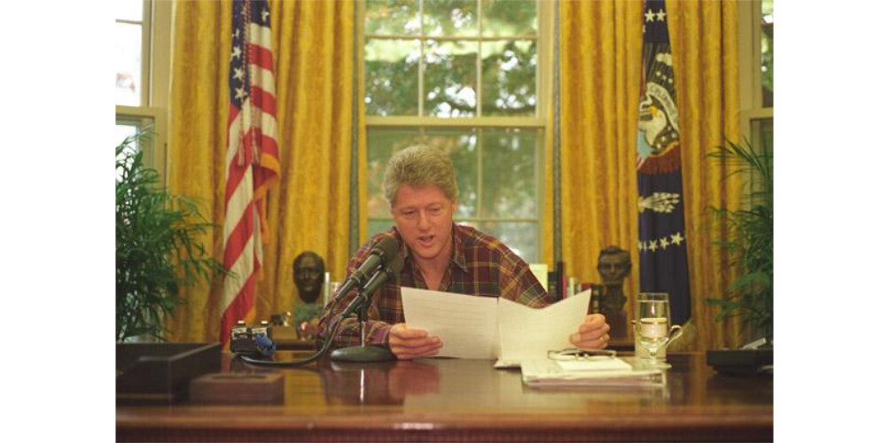 Photograph of President William J Clinton Delivering the Flickr