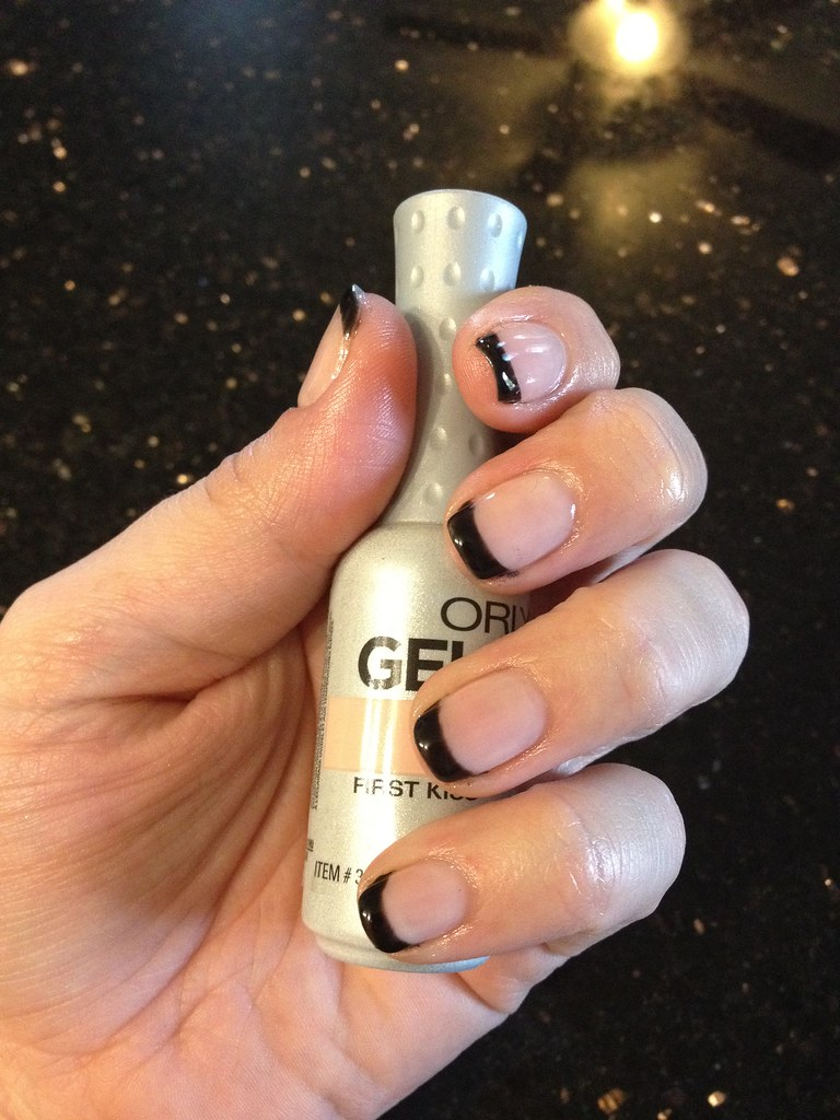 Orly Kiss the Bride with Gelish Black Shadow tips | tohillary | Flickr