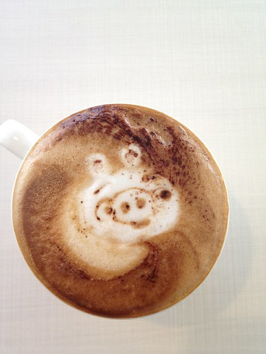 Today's latte, Green pig on Angry birds | by yukop