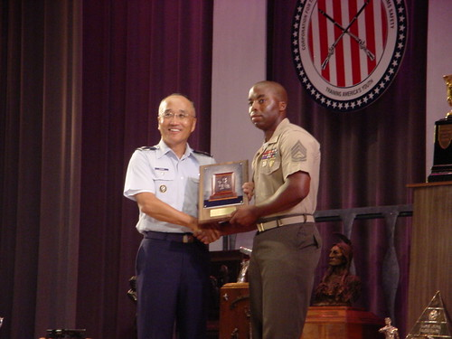 Col Chang presenting the McMillan Trophy to GySgt Richard Gray, USMC | by USAF Shooting Team