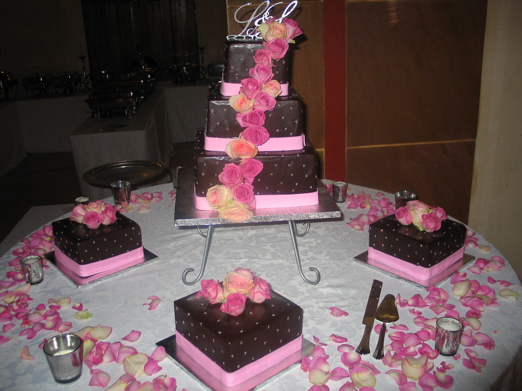 3-tier square Wicked Chocolate wedding cake iced in chocol… | Flickr