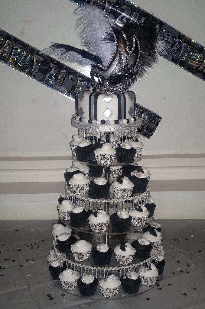 Cupcakes Black White And Silver Masquerade 21st Birthday Cake