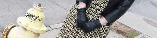 Black and yellow outfit: thrifted Ralph Lauren mock wrap dress, wool tights, thrifted leather jacket, Vinvienne Westwood Lady Dragon shoes | by Célèste of Fashion is Evolution