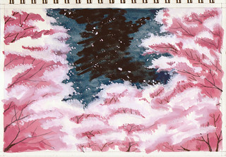 Gouache-Cherry blossoms at night 水粉:夜樱 | by seanleefromchina(an amateur painter)
