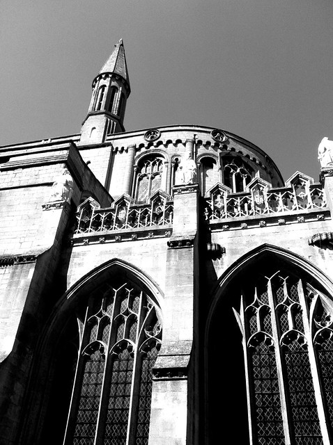 Peterborough Cathedral Gothic Windows Medieval Black And White