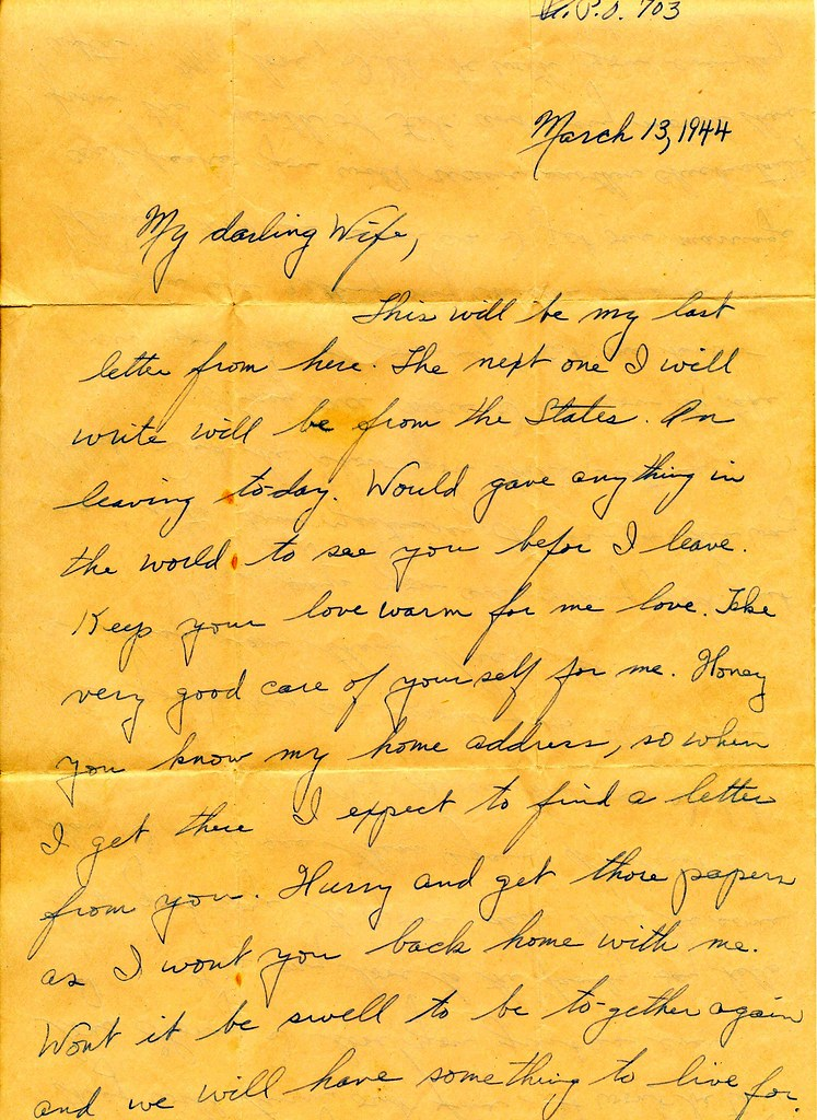 ... PeaceLoveScoobie WWII March 13th 1944 Departing Soldier Love Letter To  War Bride | By PeaceLoveScoobie