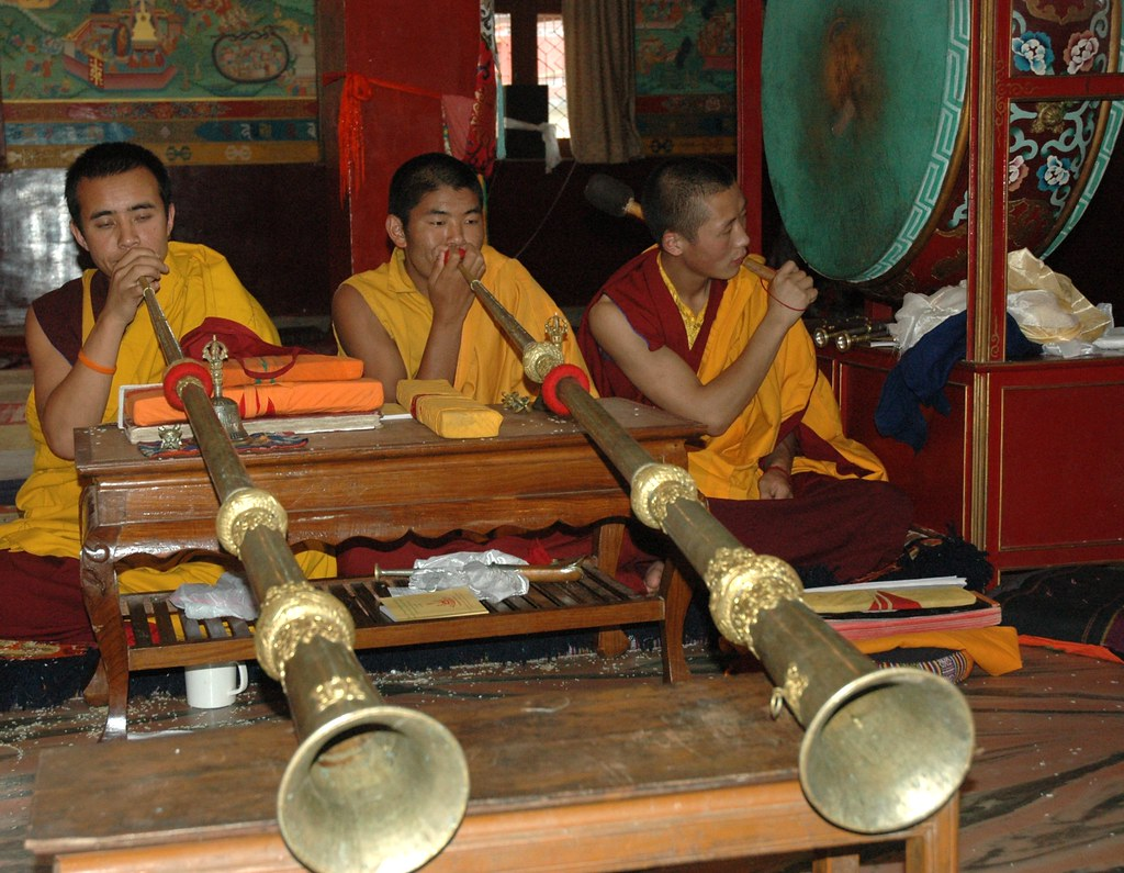 ... Monk Band Members Playing Horns Accompany Prayers, Dorjes And Bells,  Drum, Mural,