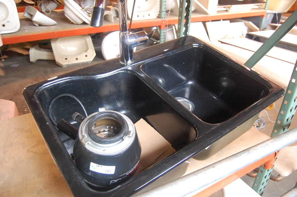 Americast black double basin kitchen sink with Grohe fauce ...