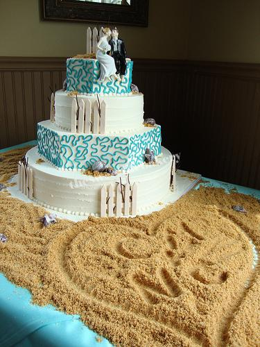 Shore Themed Wedding Cake The striking blue lace details ...