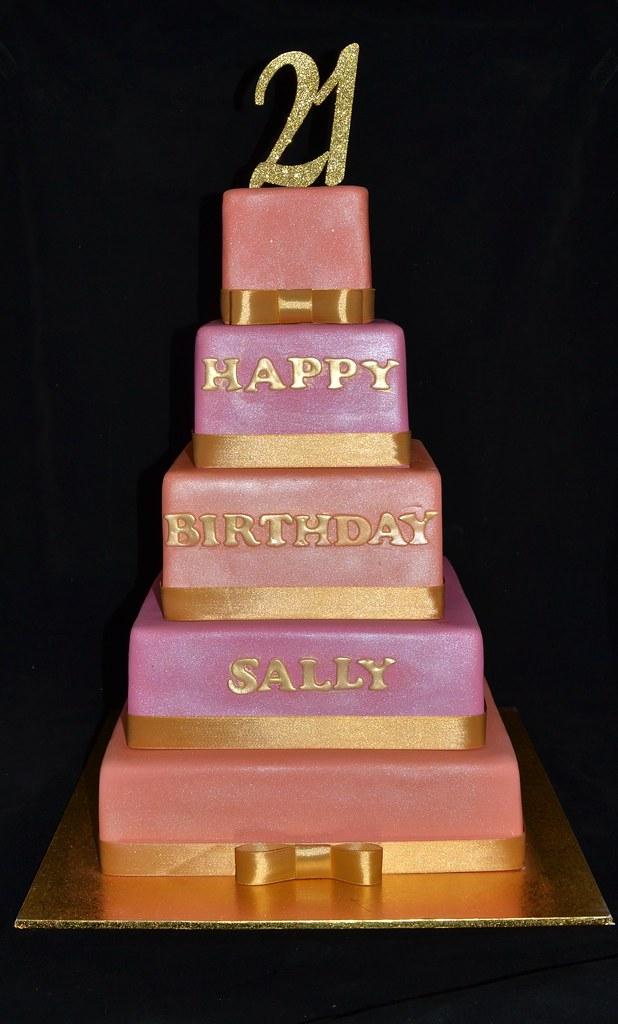 5 Tier 21st Birthday Cake