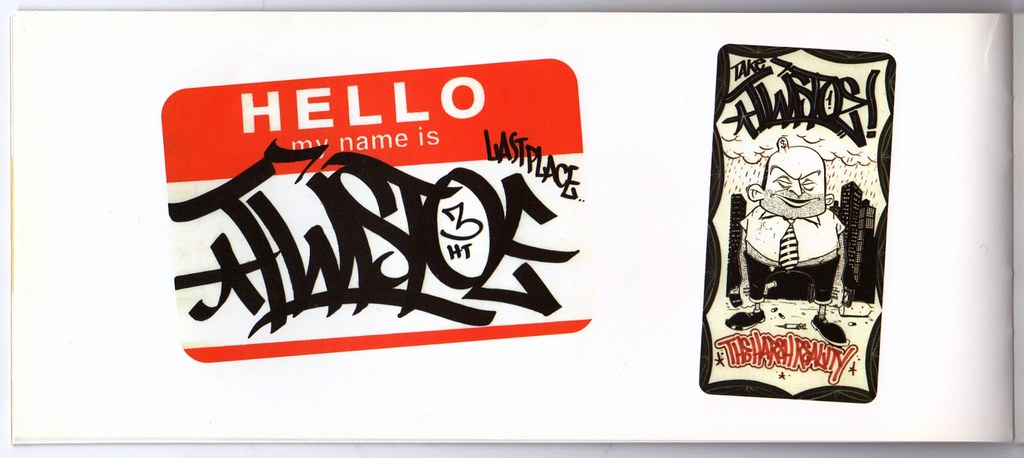 Barry mcgee twist page spread from the catalog for sticker shock artists stickers