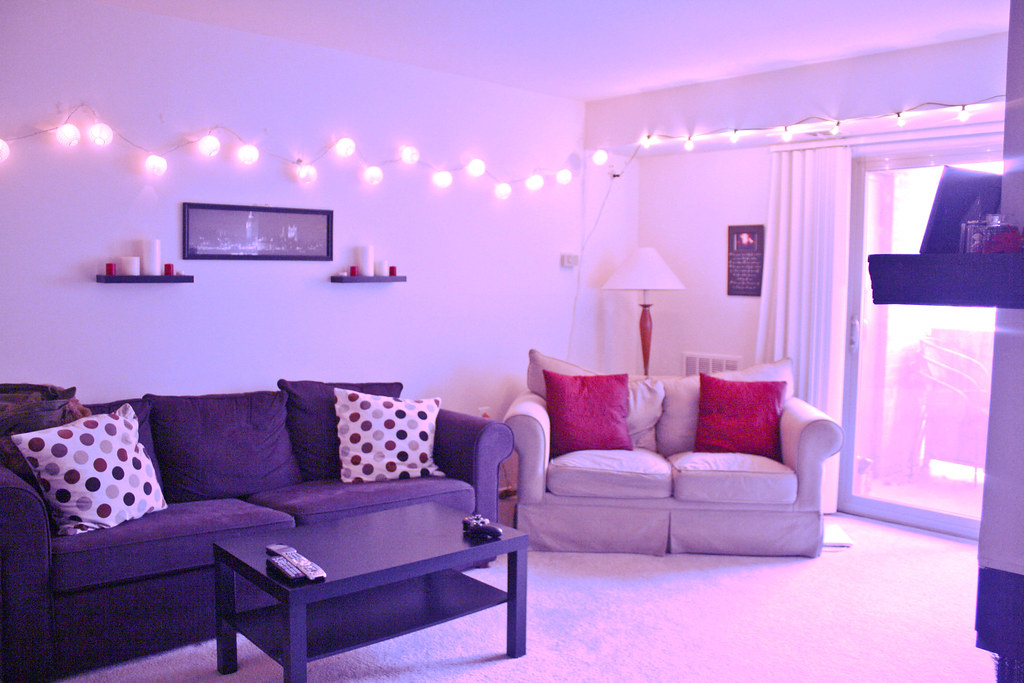 Living room, string lights | Our living room :) My favorite … | Flickr