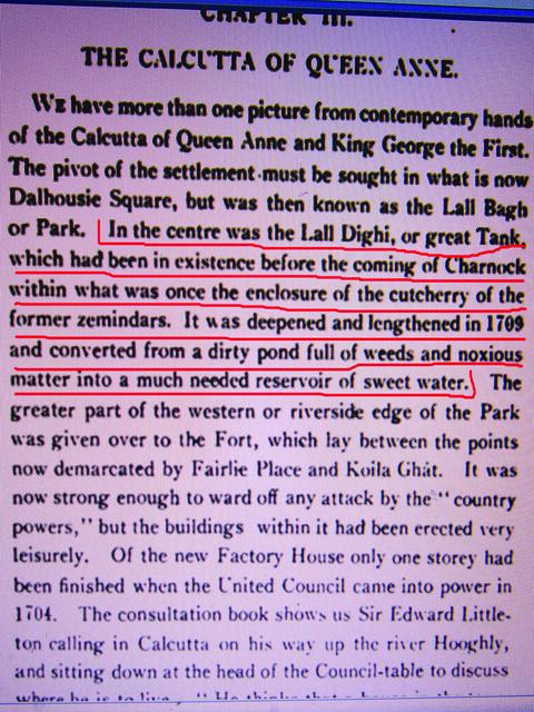 कॉटन के किताब का पन्ना जिसमें लालदिघी तालाब का जिक्र है