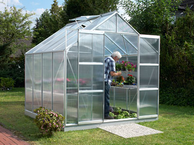 Vitavia Jupiter Polycarbonate Greenhouse 8x8 Silver | by Greenhouse Stores