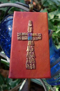 Rustic Terra Cotta Cross Pendant | by pati b