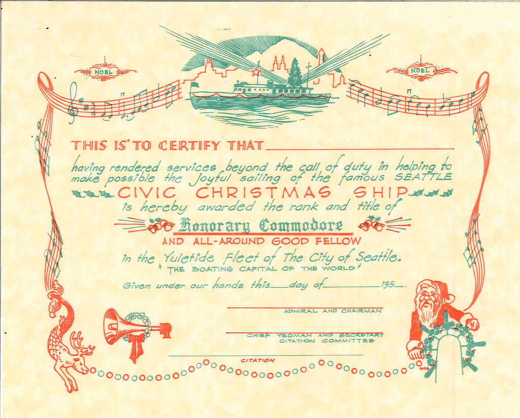 christmas ship certificate s found in civic christmas flickr christmas ship certificate 1950s by seattle municipal archives