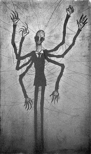 Slender Man  Drawing Found On A Wall In The Abandoned -4079
