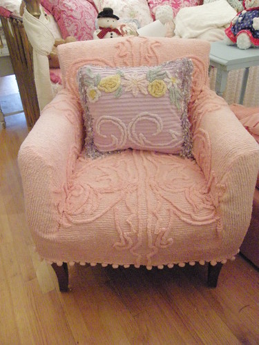 Chair With Chenille Bedspread Slipcover Shabby Chic