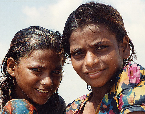 Girls on beach Puri, India | by Sallyrango