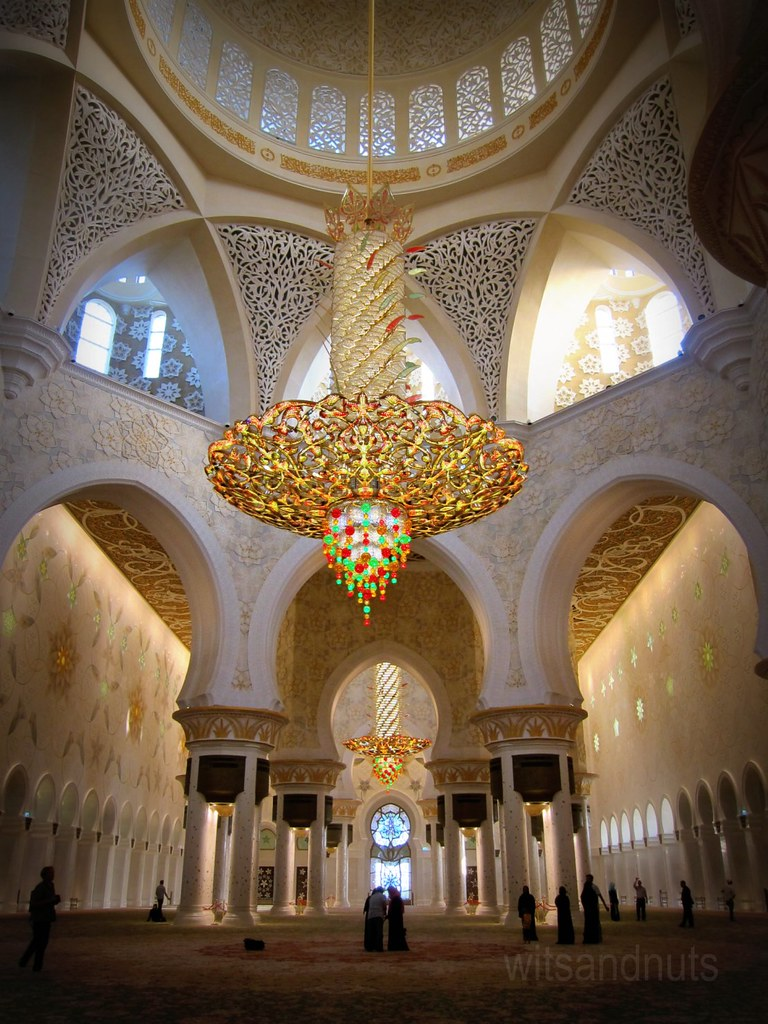 Largest Chandelier In The World At Main Dome Of Sheikh Zayed Grand Mosque