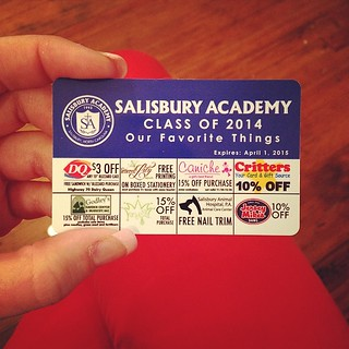 Salisbury Academy discount cards for sale in the store! $10.00 featuring yours truly along with 23 other Salisbury businesses! #theletteredlily #supportlocal #localschools #salisburyacademy #discount #tendollars | by letteredlily