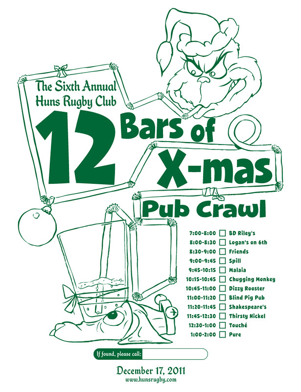 huns 12 bars of x mas pub crawl tee 2011 by manly art