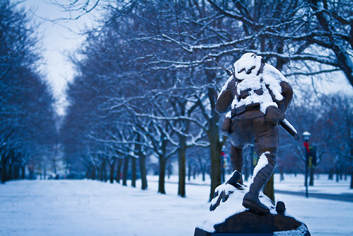 Snow covered soldier statue | by SauceyJack