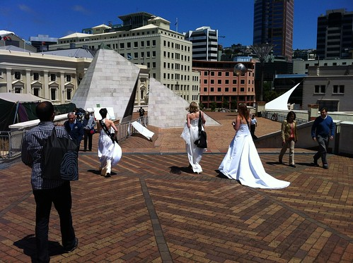 Our 'brides' handing out heart-shaped Unveiled chocolates in Wellington on December 21 | by Museum of New Zealand Te Papa Tongarewa