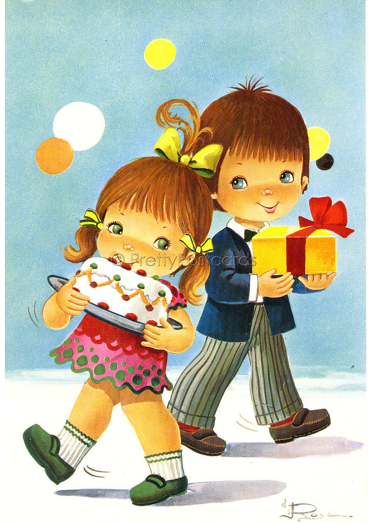 Happy Birthday To You Vintage Postcard Of A Big Eyed Boy And Girl By Di