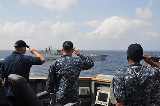 Honors aboard the guided-missile destroyer USS Chafee to the Republic of Korea Navy destroyer | by #PACOM