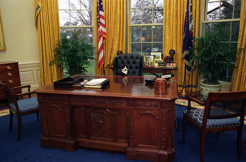 Photograph of Socks the Cat Sitting Behind the President's Desk in the Oval Office: 01/07/1994 | by The U.S. National Archives