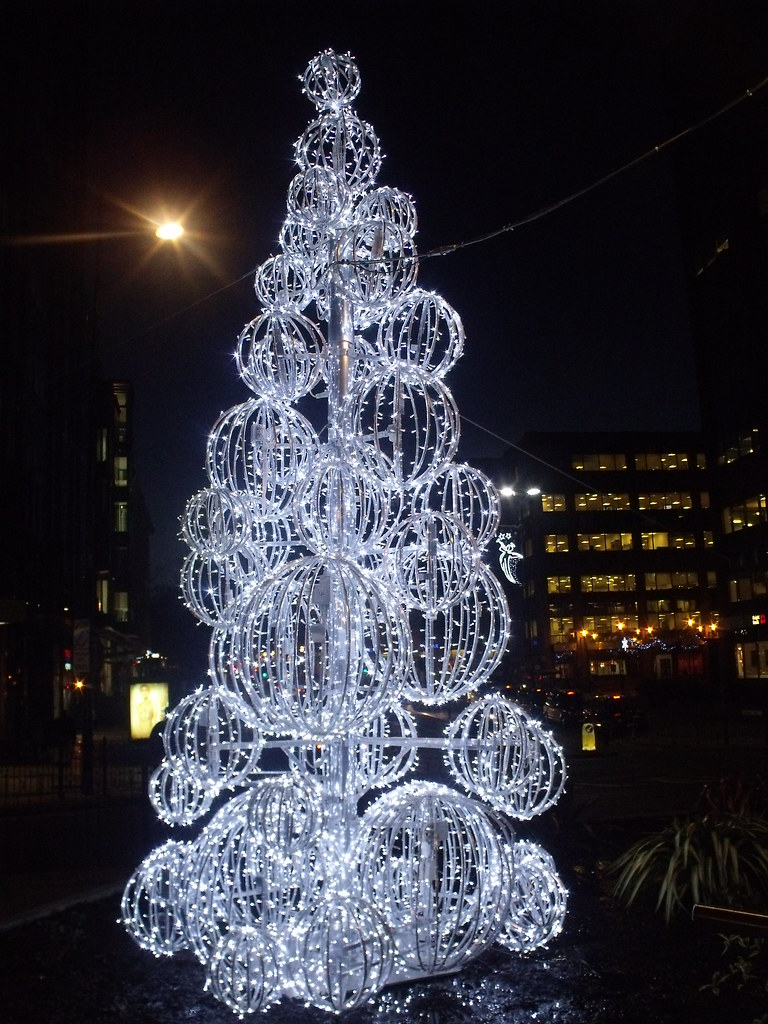 christmas lights fake christmas tree with spheres colmore square by ell brown